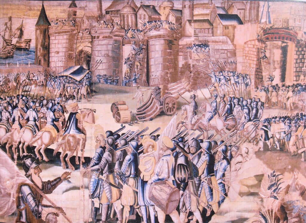 Obléhání hugenotské pevnosti La Rochelle roku 1573 katolickými vojsky, jimž spoluvelel i Filippo Strozzi