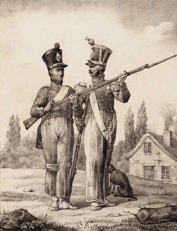 První doba nabití křesadlové pušky podle předpisu z 1. srpna 1791 (Bellangé)