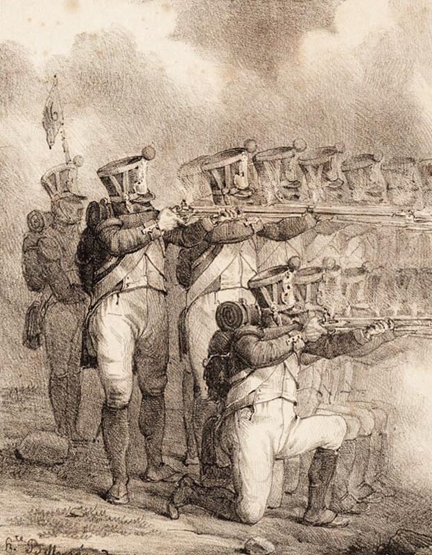 Palba salvou francouzské pěchoty ve třech řadech se v praxi válek let 1792–1815 prováděla zcela minimálně (Bellangé)