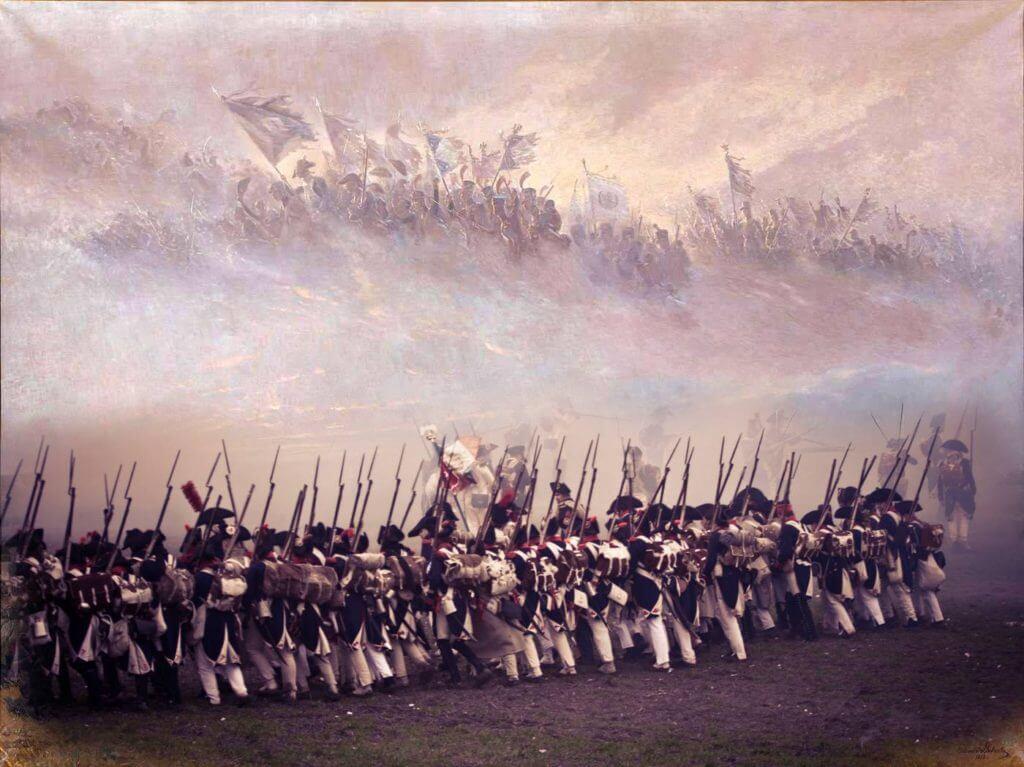 """Obraz Edouarda Detaille""""La Rêve"""" (česky Sen) kombinovaný s fotografií Michaely Wecker z moderní rekonstrukce napoleonské bitvy."""