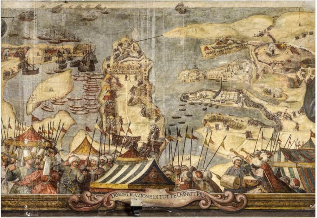 Obléhání Malty Turky roku 1565, při němž se obrany zúčastnil i Strozzi, na výjevu z velmistrovského paláce maltských rytířů z roku 1581.