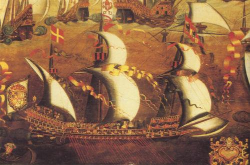 Lodě francouzské flotily, která vyrazila na pomoc portugalskému následníkovi Antoniovi na Azory.