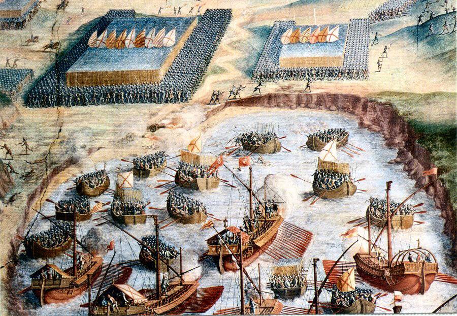 Španělská invaze na Azory, přičemž v pozadí je vidět typická španělská tercie.