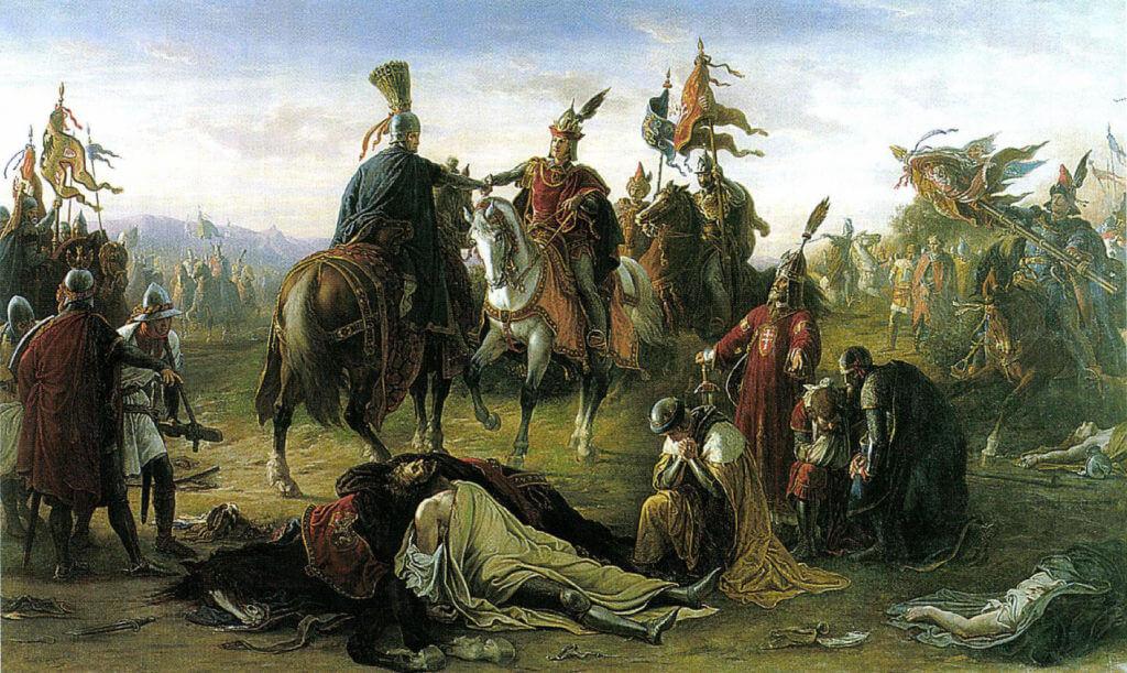 Setkání Rudolfa Habsburského s uherským králem Ladislavem IV. na obraze Móra Thana z roku 1873.