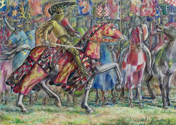 Přemysl Otakar II. na Moravském poli podle ruského malíře Jevgenije Kulikova.