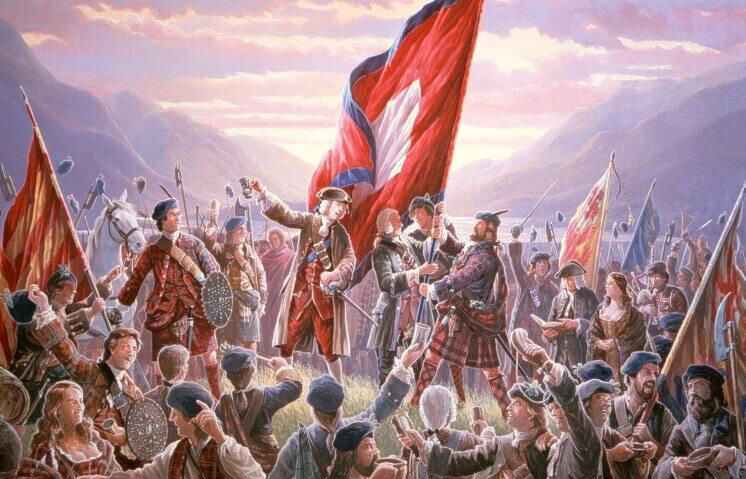 Vztyčením jakobitské standardy v Glenfinnanu začalo roku 1745 skotské protivládní povstání.