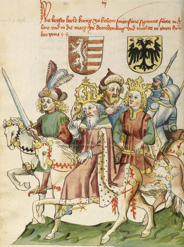 Císař Zikmund na vyobrazení z let 1440–1450 z díla jeho životopisce Eberharda Windeckeho.
