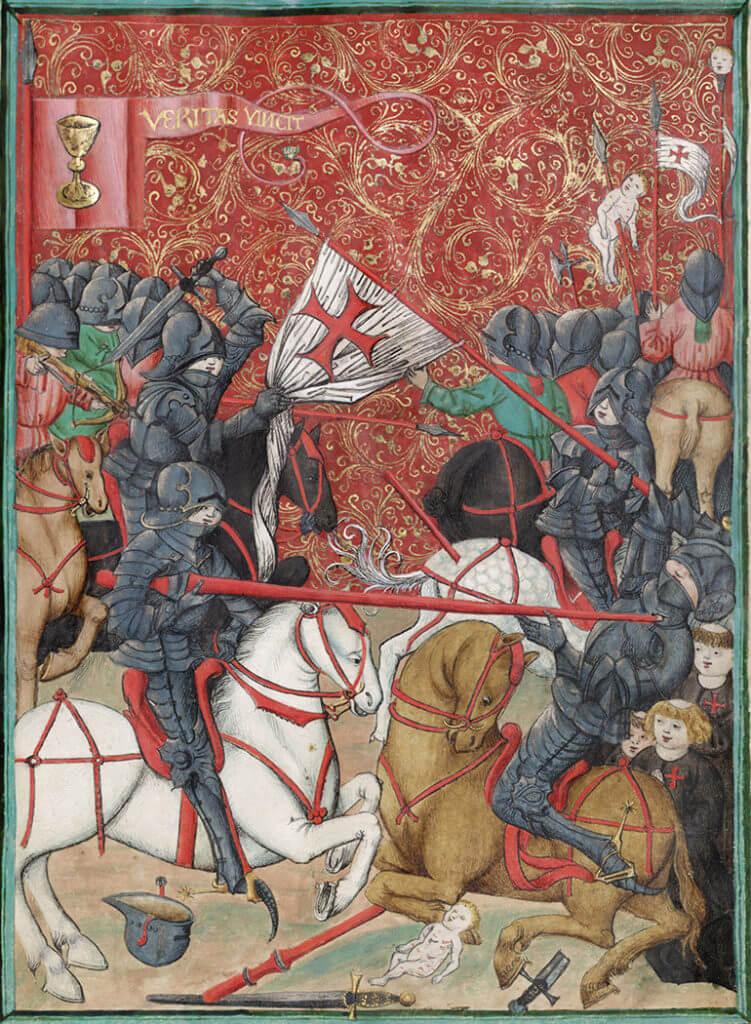 Boj husitů s křižáky v Jenském kodexu z 15. století.
