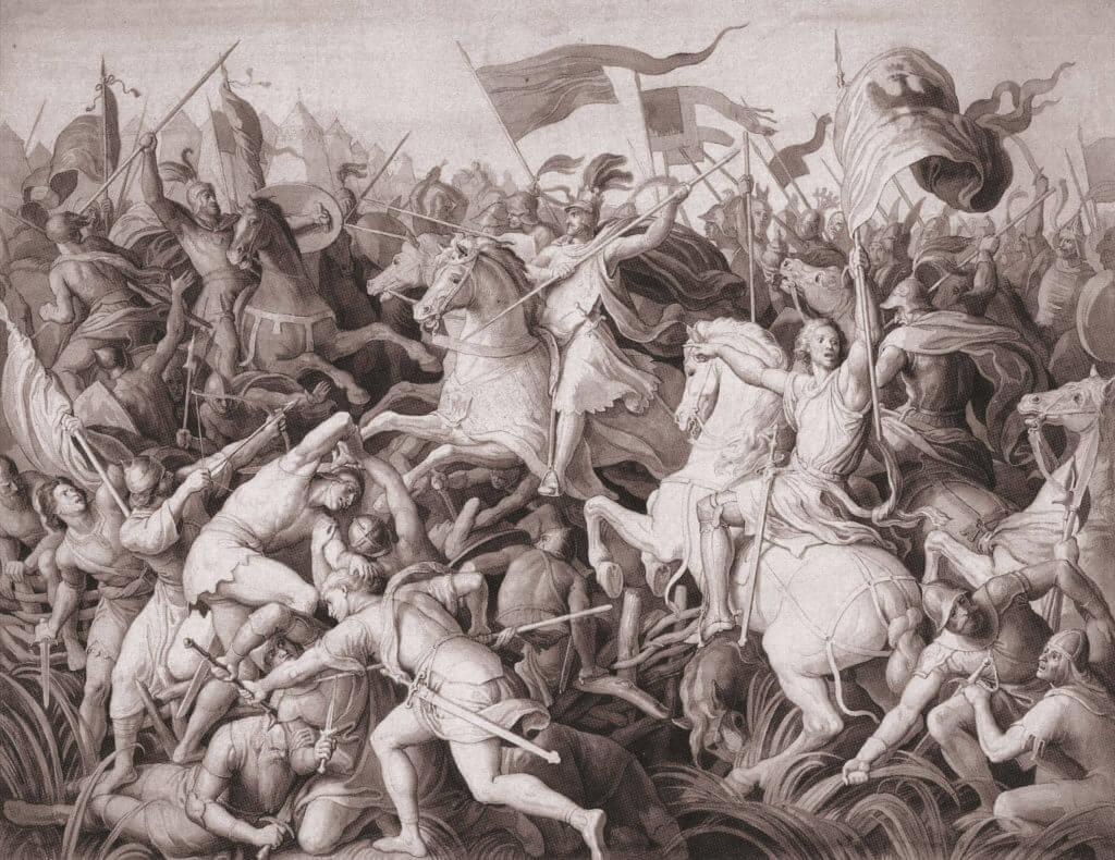 Bitva na Moravském poli v představě Julia Schnorra von Carolsfeld z 19. století.