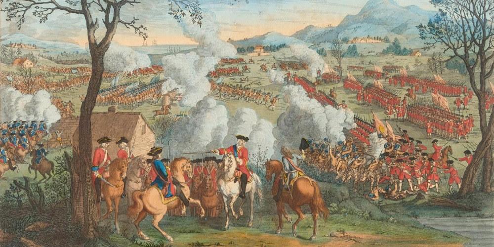 Bitva u Cullodenu na dobové rytině.