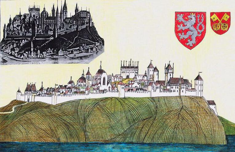 Vyšehrad doby Karlovy na kresebné rekonstrukci Jana Heřmana.