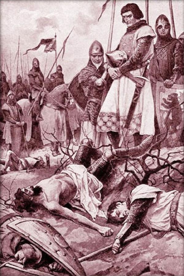 Král Rudolf nad mrtvolou Přemysla Otakara II. v představě Věnceslava Černého z 19. století.