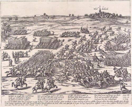 Ukázka bitvy z roku 1580, zde konkrétně u Hardenbergu v rámci boj Nizozemců o nezávislost.