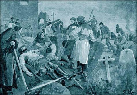 Smrt moravského hejtmana Jindřicha z Plumlova pod Vyšehradem na ilustraci Věnceslava Černého.