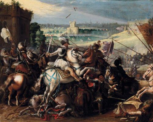 Jezdectvo kolem francouzského krále Jindřicha IV. roku 1589 v bitvě u Arques.