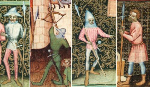 Pěší bojovníci zobrazení v Bibli Václava IV. dávají představu o tom, jak vypadali husité i někteří královští pod Vyšehradem.