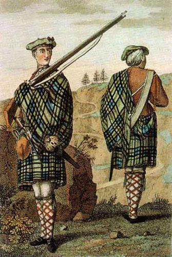 Voják z Vysočiny (Highlands) z roku 1744.