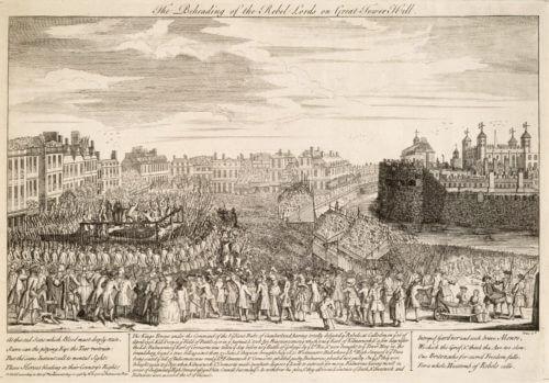 Poprava rebelů po skotském povstání v letech roku 1746 na dobové rytině.