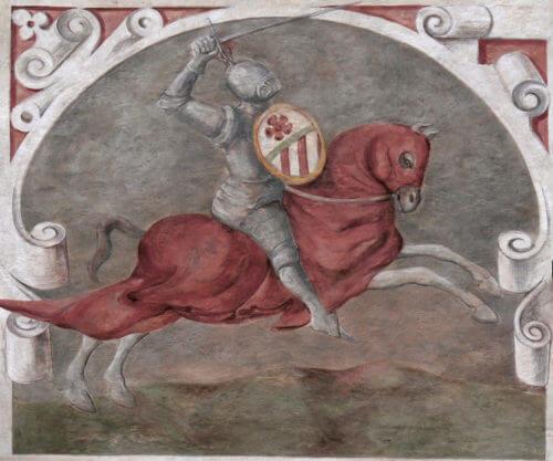 Vok z Rožmberka na idealizovaném zobrazení ve Vyšebrodském klášteře. Rožmberkové byli jednou z větví Vítkovců, kteří se proti králi roku 1276 vzbouřili.