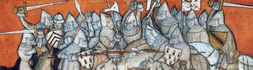 Dobové ilustrační zobrazení rytířské bitvy.
