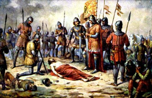 Mrtvý Přemysl Otakar II. v představě Josefa Mathausera z 19. století.