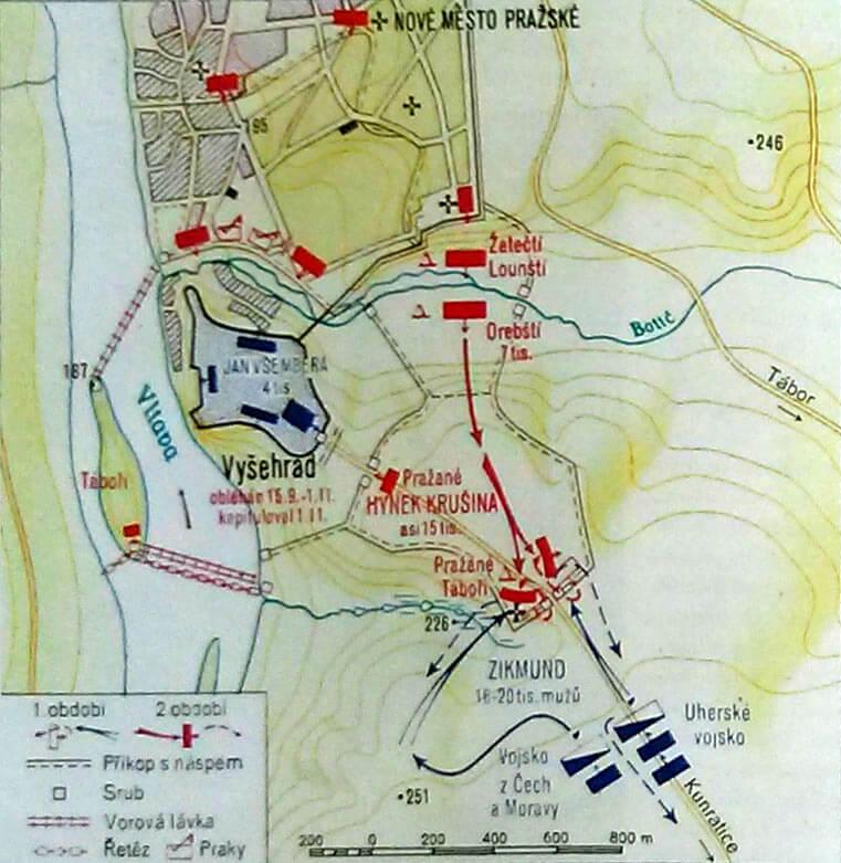 Obléhání Vyšehradu a jeho narušení útokem královských vojsk Zikmunda Lucemburského 1. listopadu 1420.