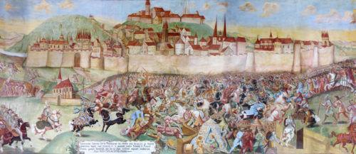 Bitva husitů pod Vyšehradem proti Zikmundovým rytířům 1. listopadu 1420 na velkolepé fresce ze 17. století na zámku Horažďovice.