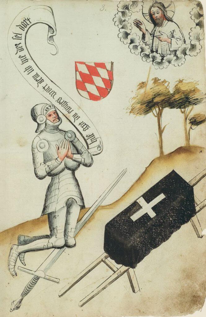 Rytíř při modlitbě z fechtbuchu Hanse Talhoffera