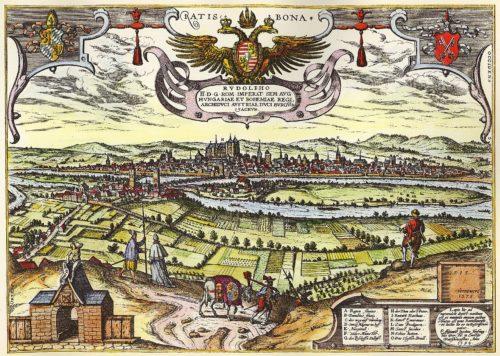 Řezno na dobovém vyobrazení z let 1572-1618
