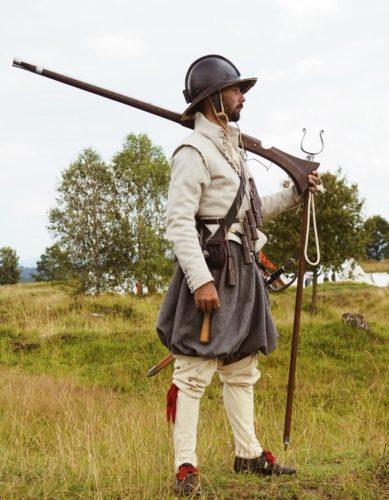 Holandský mušketýr z let 1615–1620 severozapadni Evropa, Mohl působit jako žoldnéř ve stavovském vojsku v roce 1620
