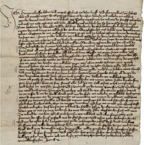 Originální text listiny s výpovědí Hanse Talhoffera ve věci vraždy Wilhelma z Villibachu, 20. března 1434