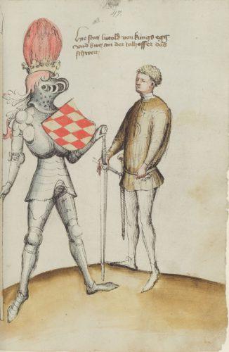 Sám Talhoffer, podávající svému žákovi, Luitoldu von Königsegg, jeho meč