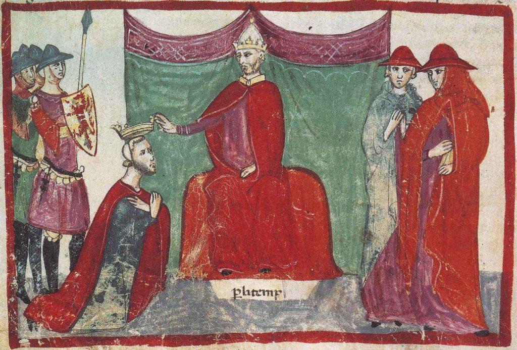Robert Guiscard přijímá z rukou papeže Mikuláše II. vévodský titul
