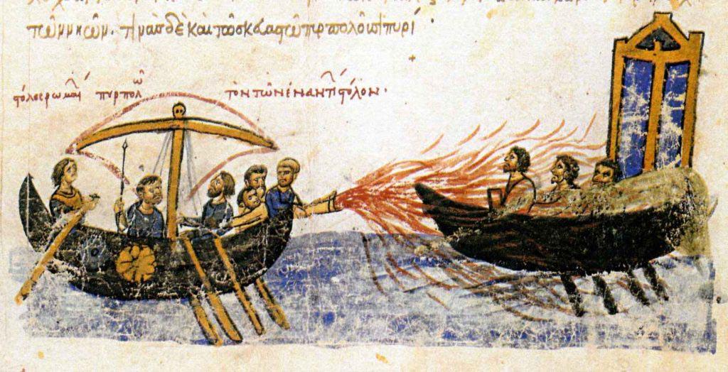 Byzantská válečná galéra vrhající řecký oheň na nepřátelskou loď. Miniatura v madridského rukopisu kroniky Ioanna Skylitza ze 12. století