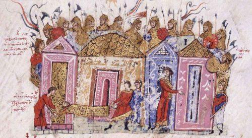 Varjažská garda obklopující císařský palác. Výjev z kronik Skylitzes Continuatus