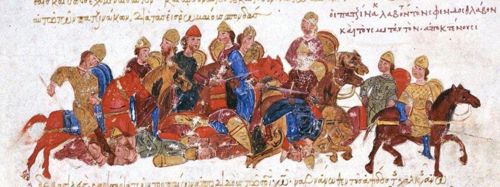 Pečeněhové pobíjejí kyjevského knížete Svjatoslava a jeho družinu. Miniatura z madridského rukopisu kroniky Ioanna Skylitza