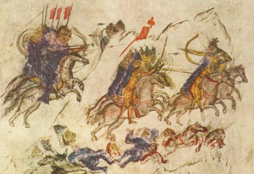 Pečeněhové vystupovali původně jako spojenci ruského knížete Svjatoslava (vládl 962–972), kterého však nakonec zabili. Vyobrazení z kroniky Konstantina Manassese ze 14. století