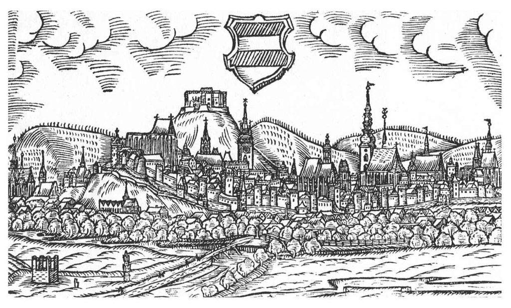 Pohled na Brno na rytině z roku 1593, Špilberk je zde zachycen ještě ve své původní podobě, autorem rytiny je Jan Willenberg