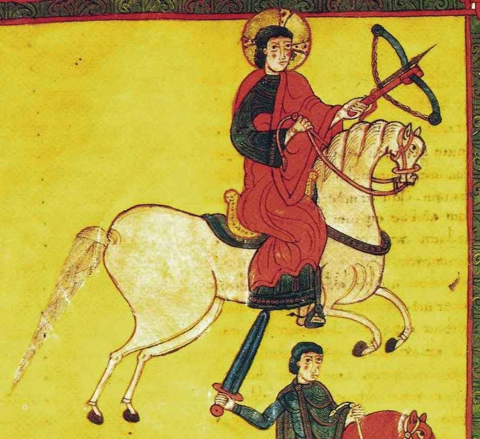 Nejstarší evropské vyobrazení kuše pochází z roku 1086 z Katalánska. Používá ji jeden z jezdců apokalypsy