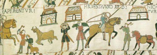 """Samotná jednoruční sekera se dala použít pro obranu v nouzi, jak je vidět třeba na ukázce z proslulé """"tapisérie"""" z Bayeux z 11. století"""