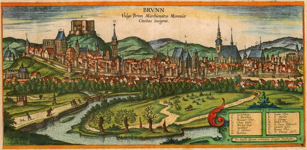 Pohled na Brno a na Špilberk roku 1617, na kolorované rytině působí pevnost opravdu trochu jako ruina, autorem rytiny je Georg Houfnagel