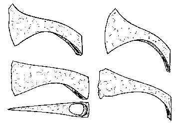 I franské vrhací sekery francisky měly různé typy hlavic. U všech je však vidět typické prohnutí, které slovanské sekery nemají