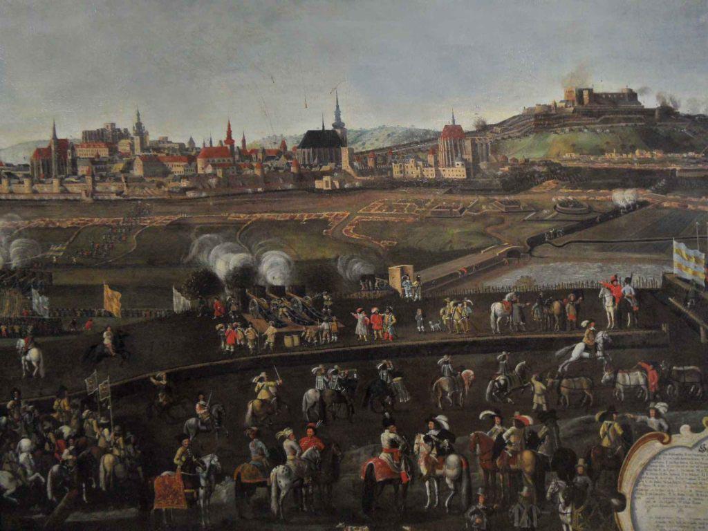 Část veduty zachycující obléhání města Brna v roce 1645 - Pohled na švédské zákopy