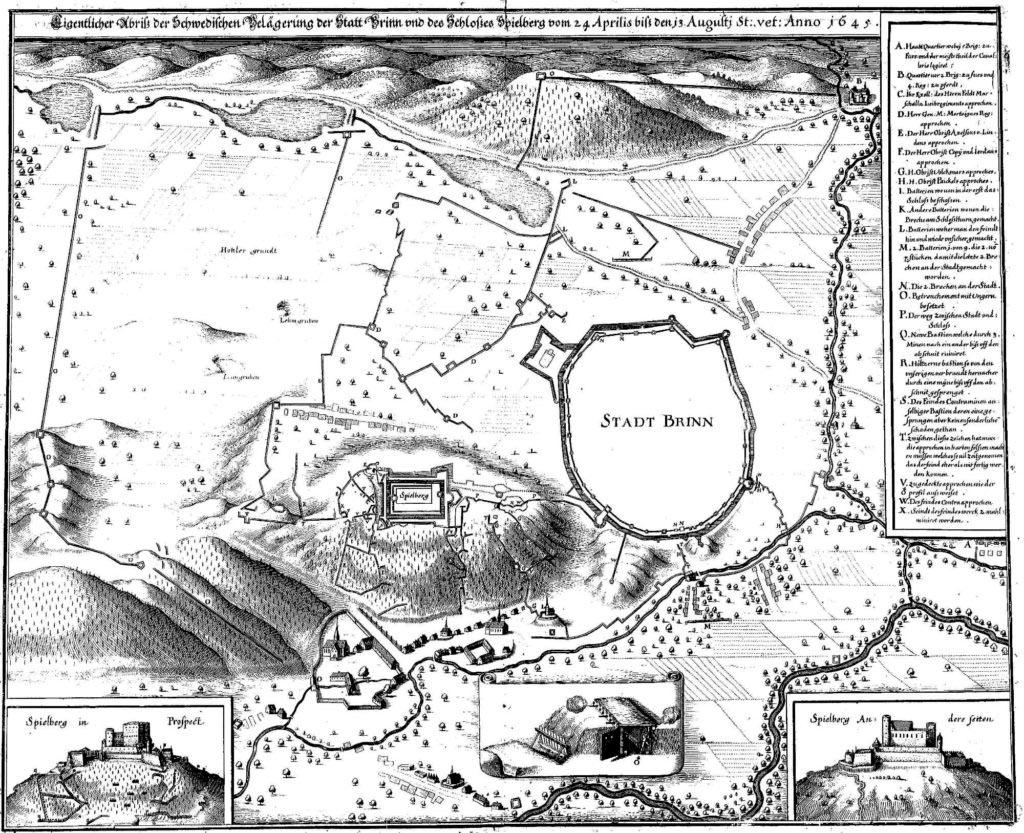 Dobový schématický plán švédského obléhání Brna roku 1645