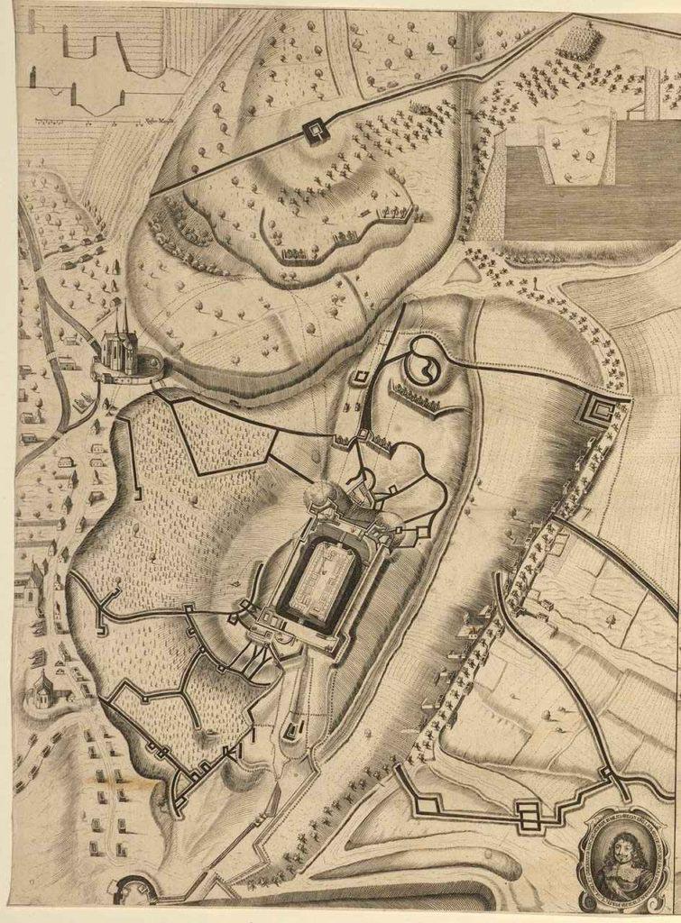 Detail Špilberku při oblehani Brna 1645, rytina patrně někdy kolem roku 1650, na rytině je zachyceno zhroucení jihozápadního bastionu