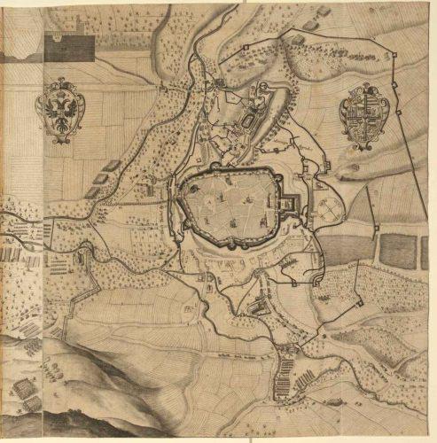 Oblehání Brna 1645 na rytině, která vznikla patrně někdy kolem roku 1650.