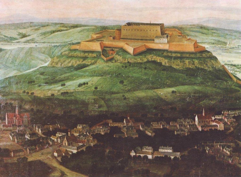 Pohled na Špilberk na obraze z roku 1692.