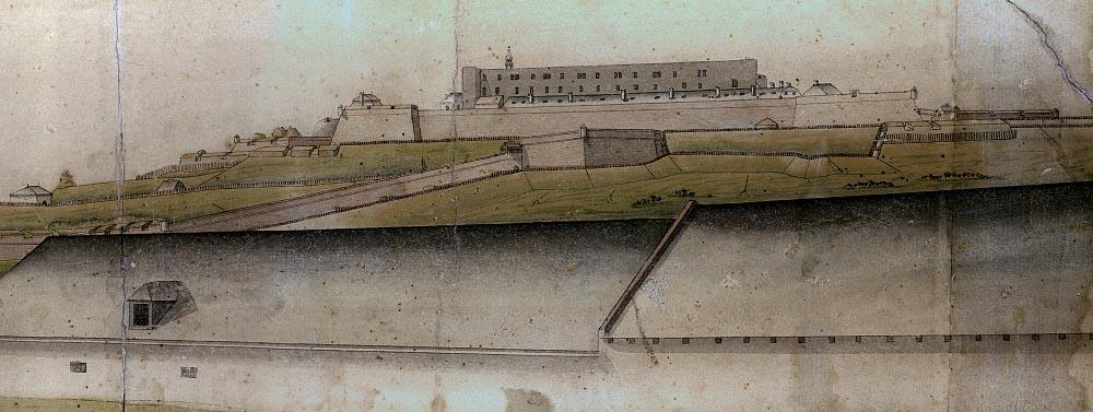 Špilberk ve stavu z roku 1742, plně připravený na obléhání.