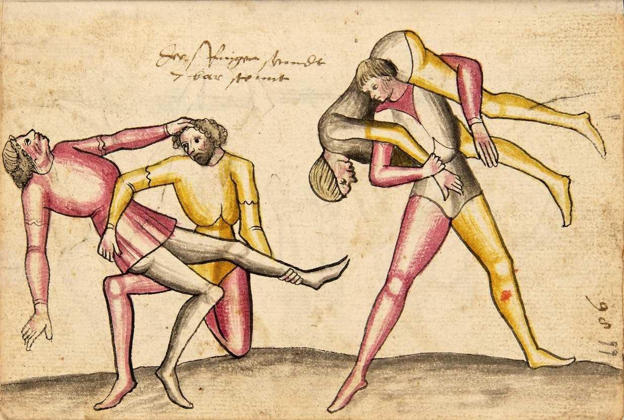 Ilustrace zápasu z torzovitě dochované německé soubojové příručky, cca 1420 (fragment rukopisu vevázaný do tzv. kodexu Wallerstein)