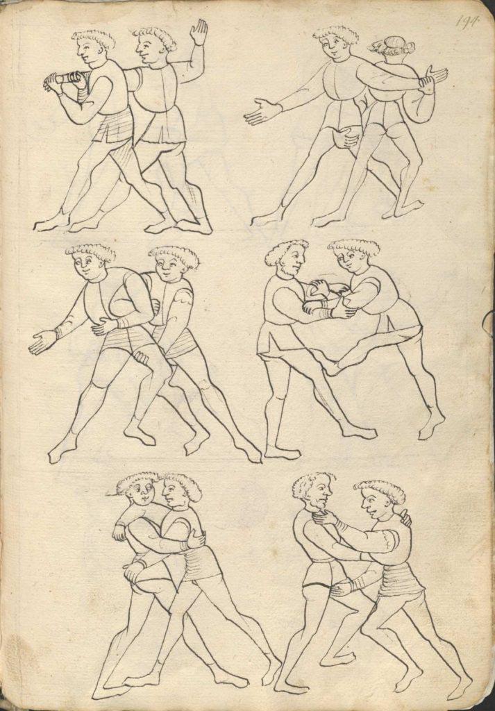 """Ilustrace zápasu ze soubojové příručky zvané """"Květ boje"""" (Die Blume des Kampfes), cca 1420–1430"""